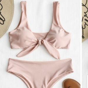 ZAFUL Tie Front Padded Bikini Set in PINK